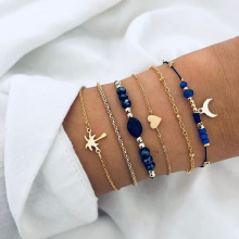 6 Pcs/Set Palm Tree Love Heart Leaf Moon Charm Bracelet Bangle Set Gold Link Chain Hollow Flower Leaf Bracelet Bohemian Jewelry цена