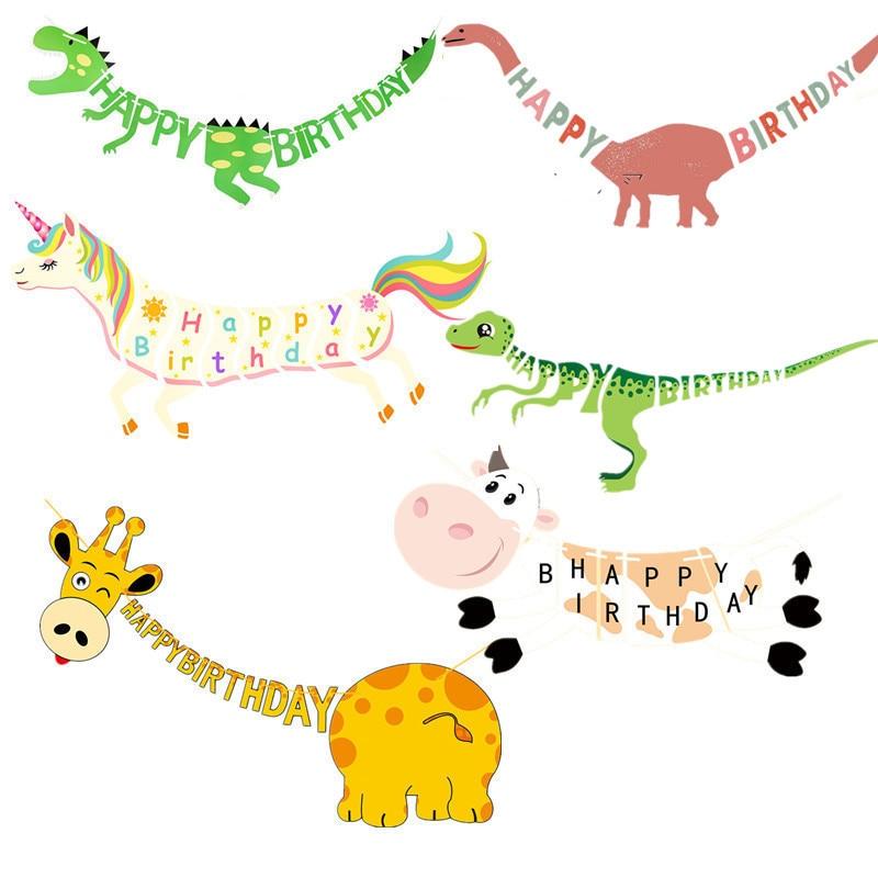 1 Set Cute Happy Birthday Banner Animal Dinosaur Giraffe Cow Pig Banner Garlandfor Boy Girls Kids Birthday Party Decoration in Banners Streamers Confetti from Home Garden
