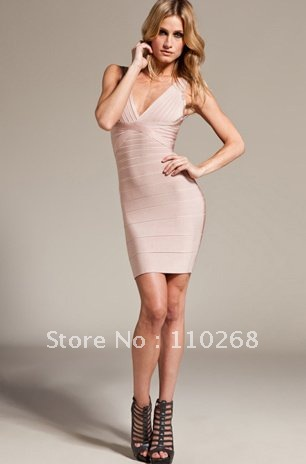 Aliexpress.com : Buy HL Sexy Beige Bodycon Dress Hotsell Low V ...