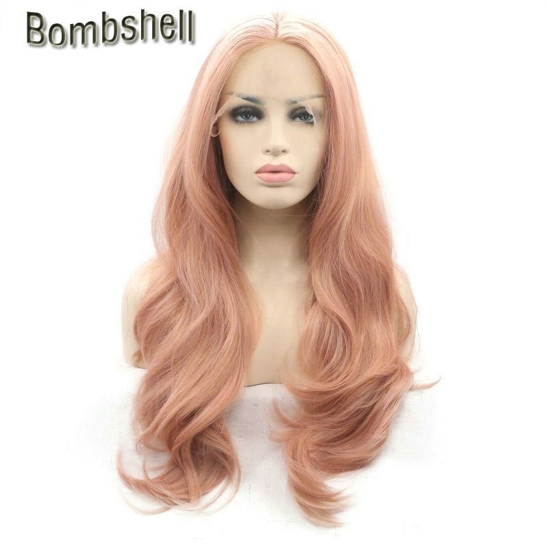 Bombshell Long Pastel Pink Heat Resistant Fiber 18 24 Hair Nature Wave Rose Gold Synthetic Lace