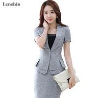 Lenshin 2 Pieces Set New summer work wear women's skirt suits Female Formal Short Sleeve blazer jacket & skirt
