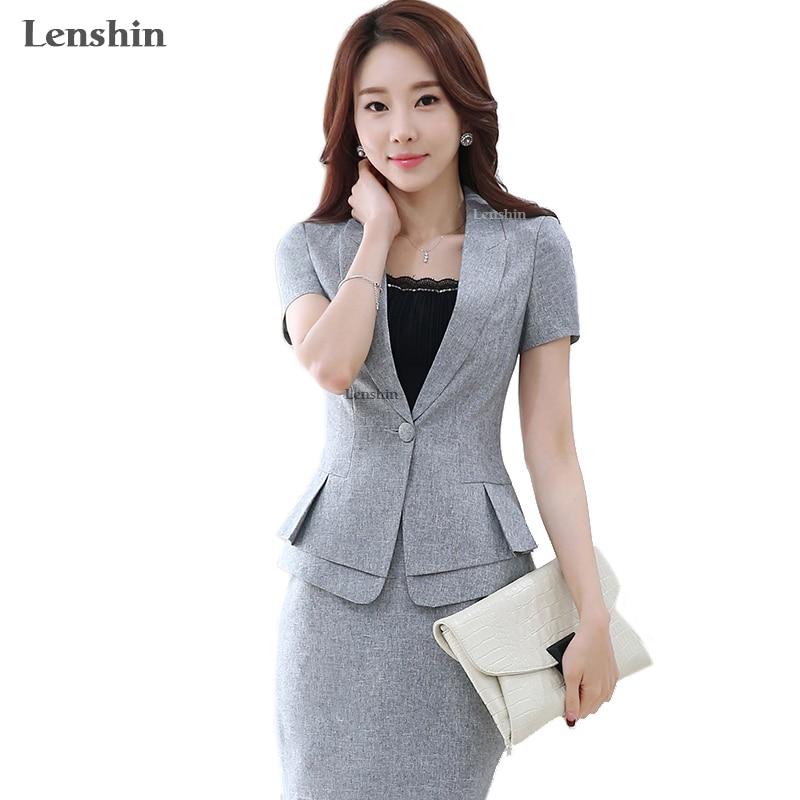 Lenshin 2 Pieces Set New Summer Work Wear Women's Skirt Suits Female Formal Short-Sleeve Blazer Jacket & Skirt