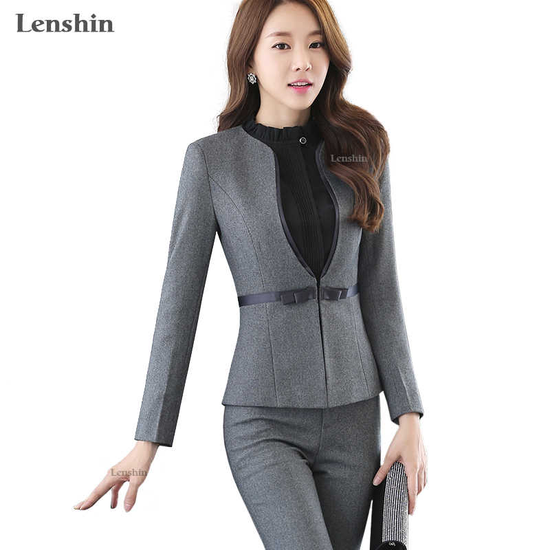 ffecad553980 Lenshin Two Piece Formal Pant Suit Full Sleeve Office Lady Uniform Design  Women Business Suits Gray