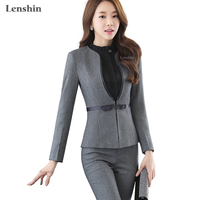V Neck Collar Two Piece Formal Pant Suit Full Sleeve Office Uniform Designs Women Business Suits