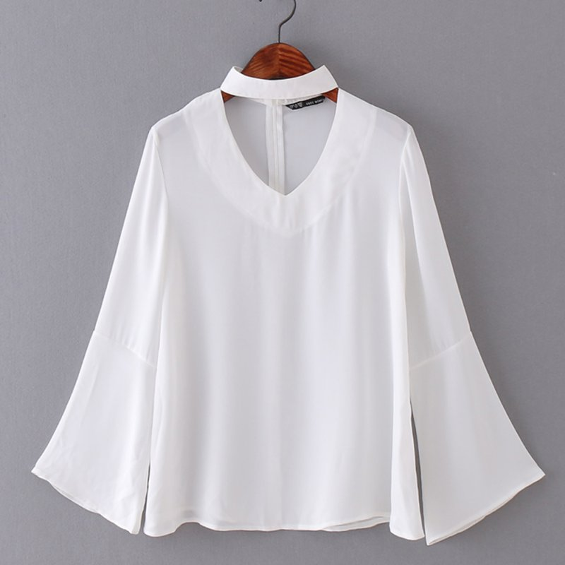 Forme a mujeres con estilo flare manga halter con cuello en v blusa de gasa vera