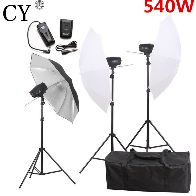 CY Photography Studio Flash Lighting Kit 540w 220v Storbe Flash Light+Photo Studio Umbrella+Stand+Flash Trigger Set Godox K-180A godox es 600p 600w gn68 xenergizer wireless portable flash studio light lighting kit