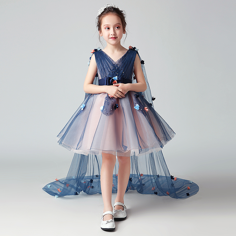 Luxury Princess Girl's Ball Gown Dress Birthday Party Floral Tulle Dresses Detachable Shoulder Yarn V-neck Kids Vestidos S169