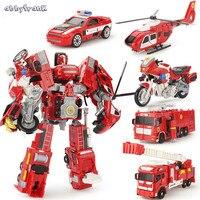 Abbyfrank Alloy Deformation Robot Car Model 2 In 1 Toy For Children Boys Ladder Fire Truck