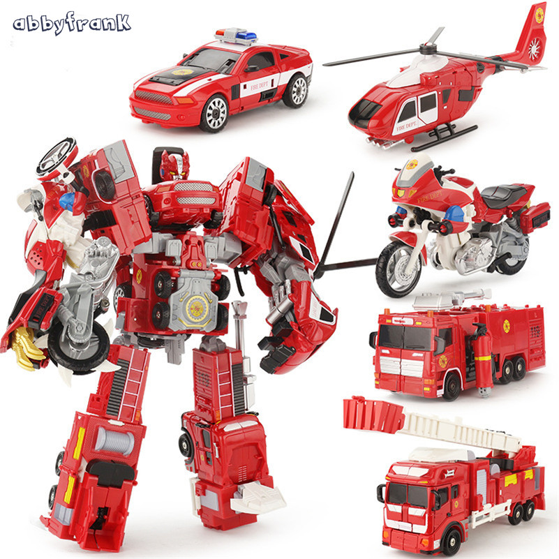 Abbyfrank Alloy Deformation Robot Car Model 2 In 1 Toy For Children Boys Ladder Fire Truck Transformation Robots Vehicle Juguete children inertia toy car simulator ladder truck firetruck
