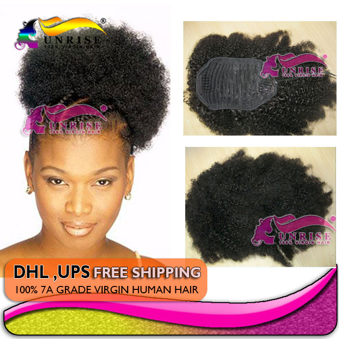 Afro kinky curly ponytail hair extensions real hair virgin afro kinky curly ponytail hair extensions real hair virgin brazilian human ponytail hair tight wrap around human hair ponytail in ponytails from hair pmusecretfo Choice Image