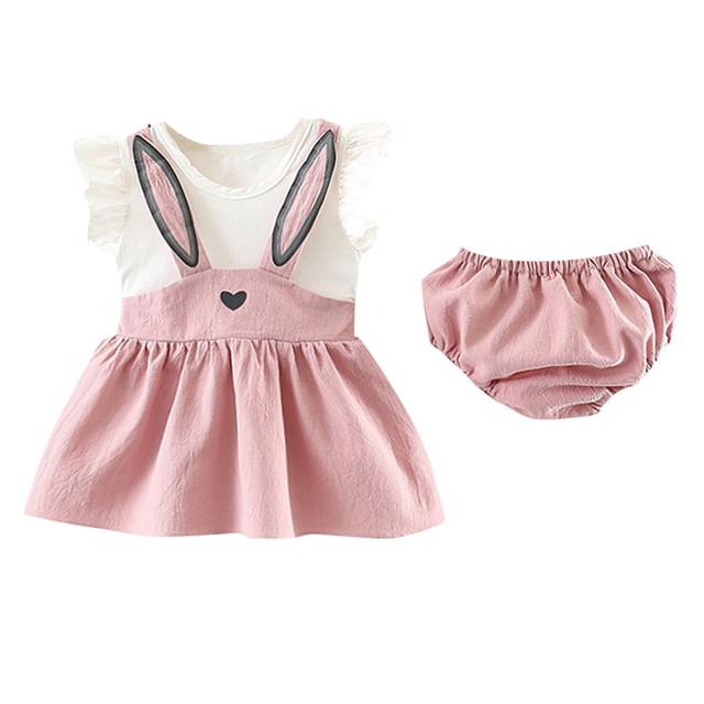 Newborn Toddler Baby Girl Set Sleeveless Cartoon Rabbit Bunny Ear Dress roupa infantil meisjes kleding girl outfits kids clothes