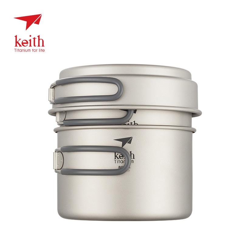 Keith Titanium Pot set for outdoor camping picnic folding compact ultralight 400ml 800ml 1200ml Ti6014