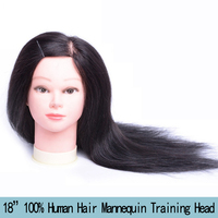 18 Professional Cosmetology Training Head With 100% Human Hair Hairdressing Dummy Doll Mannequin Hairdresser Head