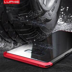 Image 5 - オリジナル LUPHIE サムスンギャラクシー注 9 金属バンパークリア強化ガラスカバー Note9 透明ケース Coque バッグ