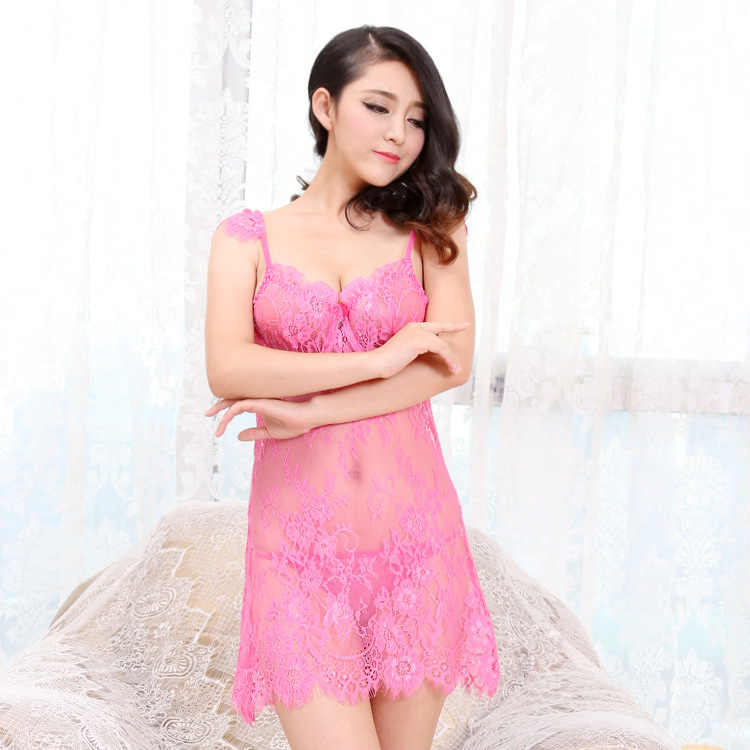 fd05beb15 ... Sexy Lingerie Erotic See Through Hollow Lace Gather Support Slip Sleep  Dress Women Push Up Nightgowns ...