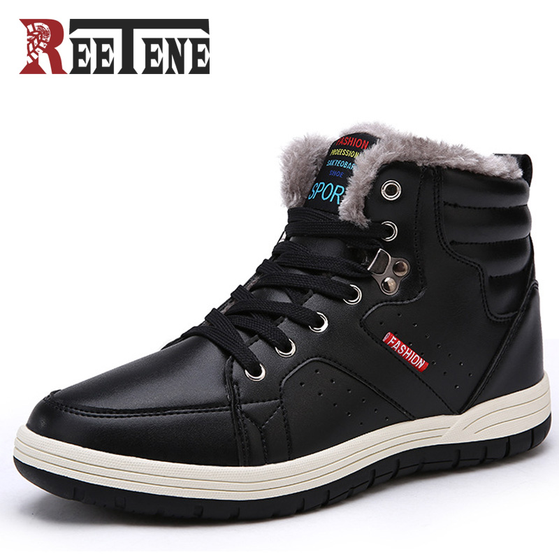REETENE Winter Men Ankle Boots Men Fur Leather Boots Casual Men Leather Moccasin Plush Winter Men Shoes Cheap Cowboy Boots ...