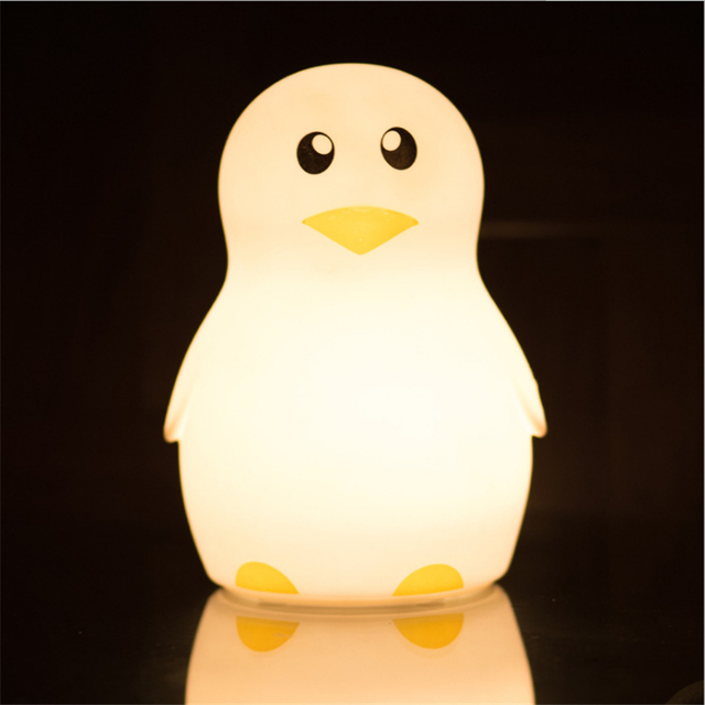 Cute Silicone Penguin Nightlight Luminaria Night Lamp Novelty LED Touch  Dimming Nursery Lamp For Baby Children