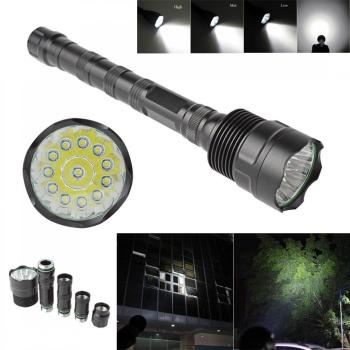 цена 30000Lumen XM-L LED 12x T6 Super LED Flashlight Bright Torch Lamp Light with 5 switch Mode for Outdoor Camping Hiking Riding онлайн в 2017 году