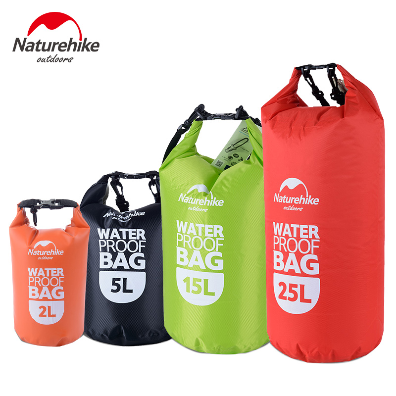Bolsa de Rafting impermeable Naturehike 4 colores al aire libre de nailon de almacenamiento de kayak a la deriva bolsa de natación ultraligera seca 2L 5L 15L 25L