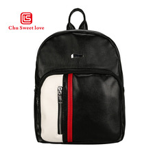 цены Women Pu Leather Backpack Female Casual Stripe Splicing Black Backpack Bag Teenager School Travel Back Pack