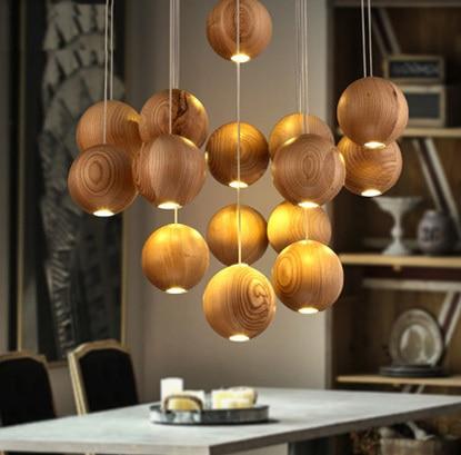 3 lámpatartó Art csillár Fa kreatív csillárok Restaurant - Beltéri világítás