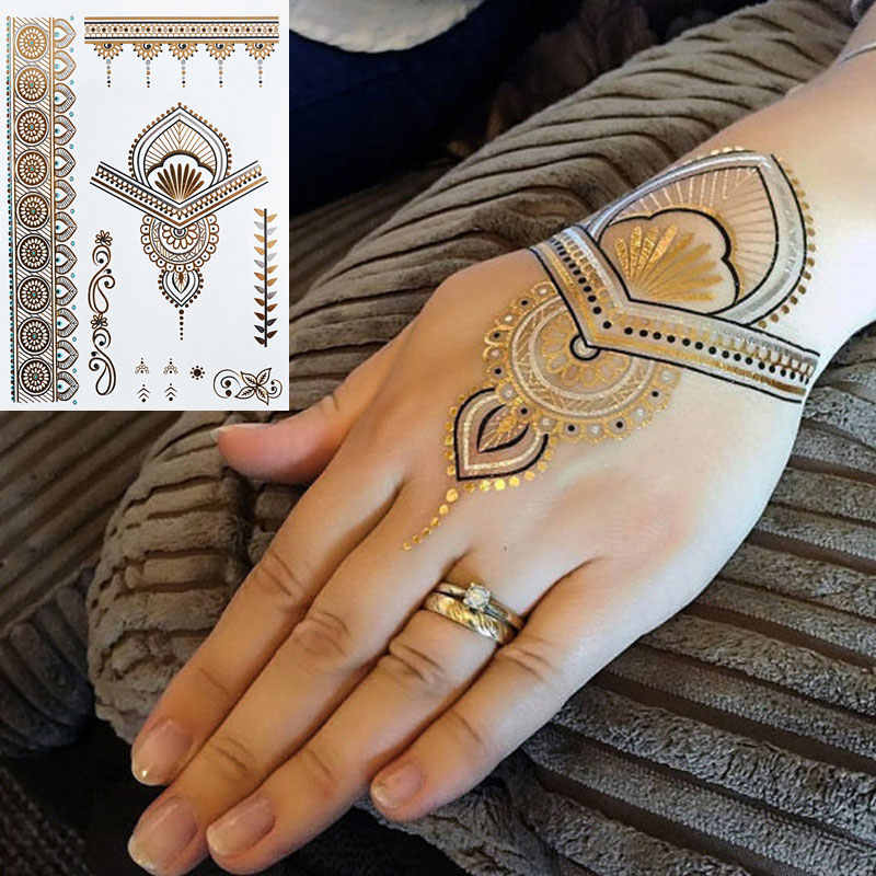 #352 India Heidi Henna Tattoos Metallic Flash Sieraden Tattoos, Body Art Vrouwen Tattoo Sticker!