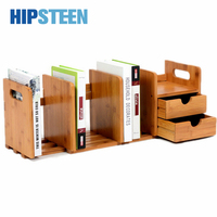 HIPSTEEN Durable Bamboo Tabletop Bookshelf Extensile Office Books Organizer Storage Shelf with Drawer Wood Color