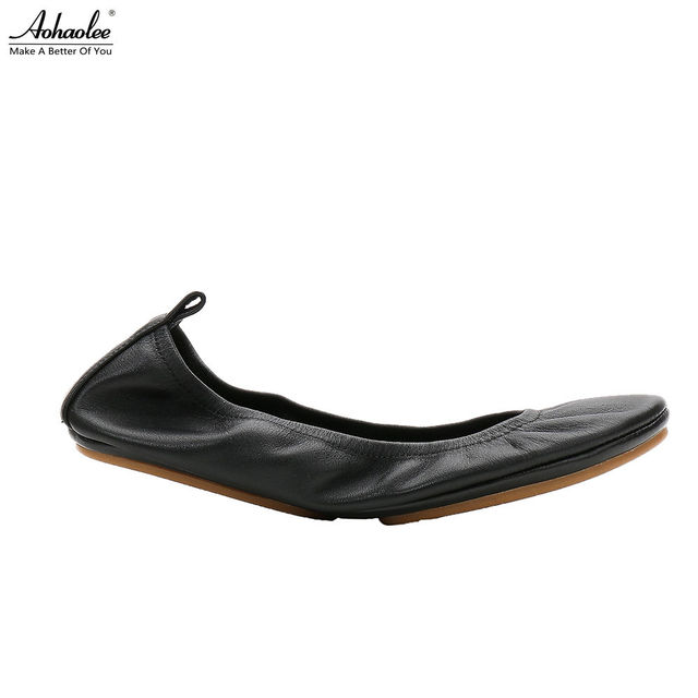 Aohaolee Fashion Brand Women Shoes Comfort Round Toe Leather Ballerina Foldable Ballet Flats Portable Travel Flats Pocket Shoes