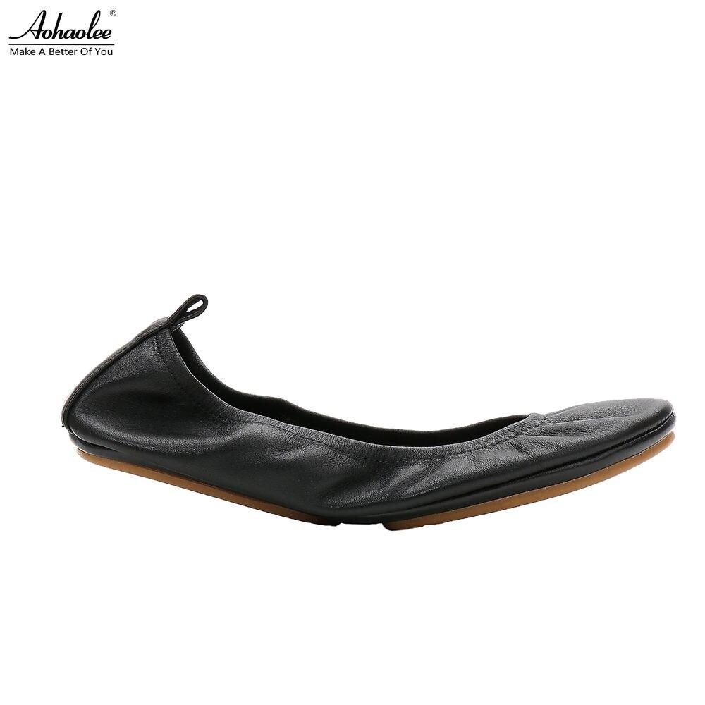 Aohaolee Moda Marca Mulheres de Conforto Sapatos de Couro Dedo Do Pé Redondo Bailarina Dobrável Sapatilhas Flats Sapatos de Bolso de Viagem Portátil