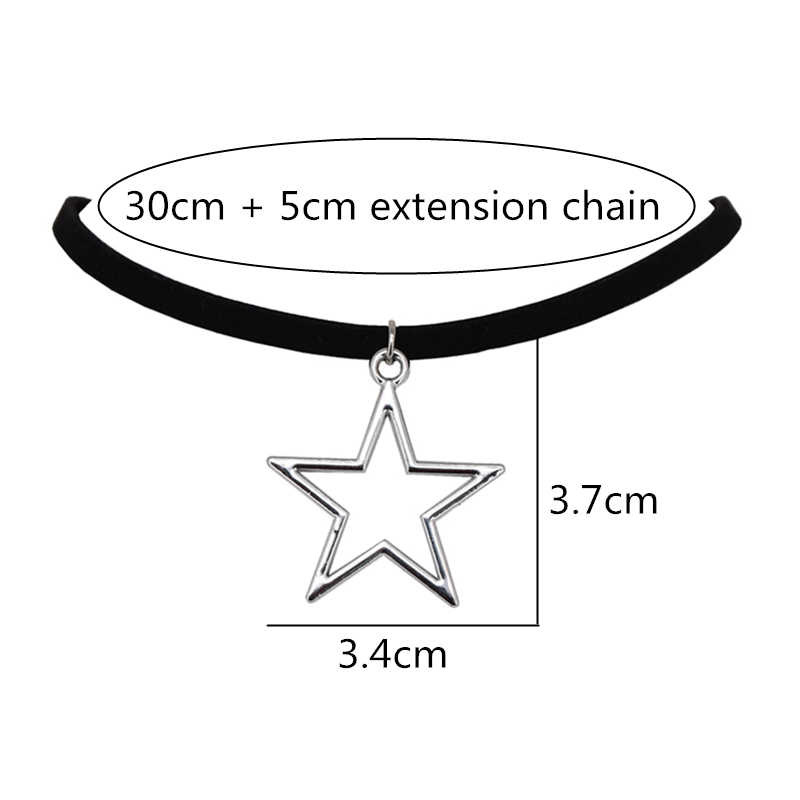 2019 novas chegadas moda prata chapeado bijoux preto veludo couro collier pentagrama pingentes gargantilhas colares feminino