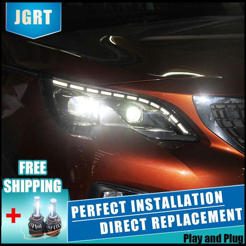 2 pcs LED Phares Pour Peugeot 3008 2017 Voiture Led Lumières Double Lentille Xénon Voiture Accessoires Feux de jour Brouillard lumières