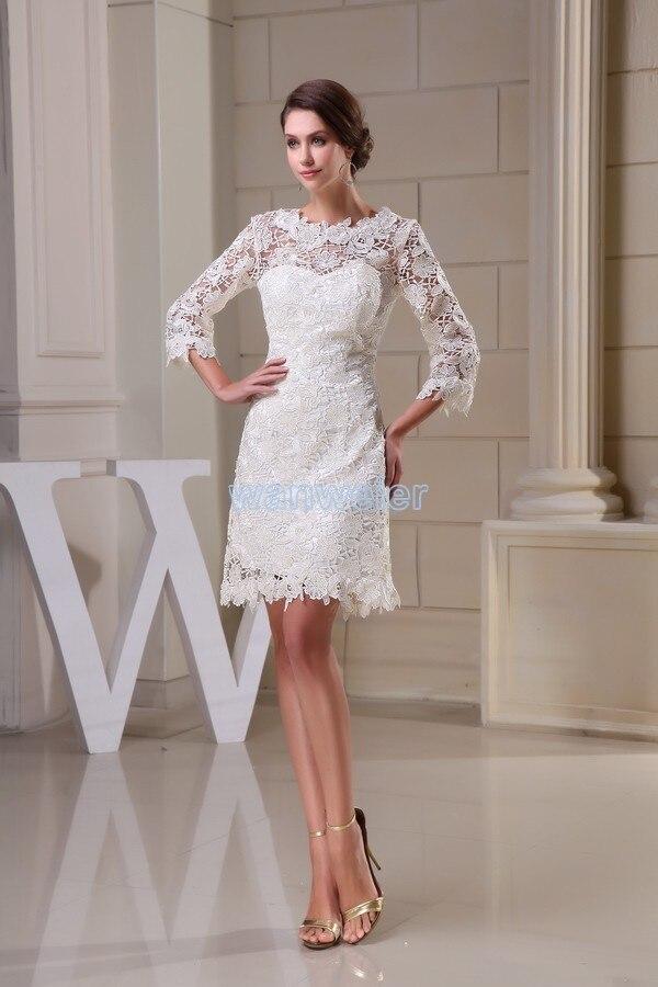 Livraison gratuite modeste 2014 nouveau design offre spéciale taille personnalisée grande taille robe plage à manches longues dentelle courte blanche robes de demoiselle d'honneur