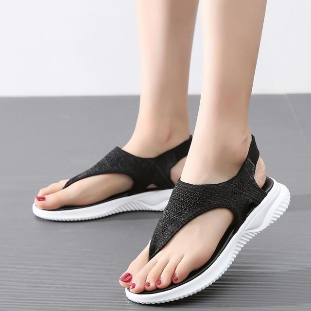แฟชั่นตาข่ายผู้หญิงรองเท้าแตะรองเท้าแตะผู้หญิงรองเท้าผู้หญิงฤดูร้อน Cool Beach แฟลตหญิงขนาดใหญ่ขนาด 35 45