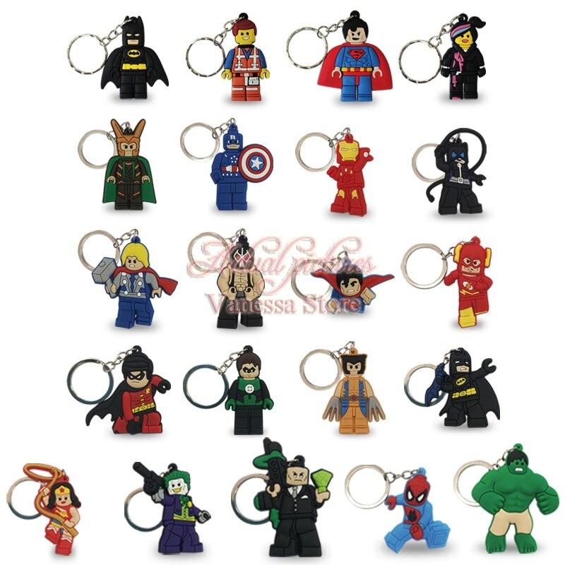 50PCS PVC Cartoon Figure Marvel Super Hero Batman Hulk Key Chain Mini Anime Superman Wonder Woman Key Ring Kid Toy Pendant Chain