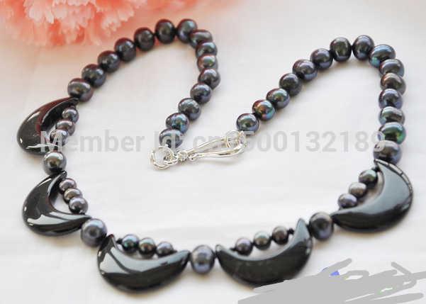 "J00444 18 "" 9 mm preto redonda de água doce cultivadas pérola de ágata colar crescente"
