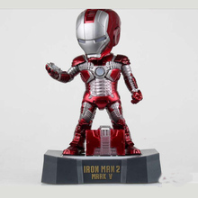 Iron Man Egg Attack Action Figure Iron Man 2 Mark 5 American Superhero Model Toys Iron Man Collectible Figurines W Light Base