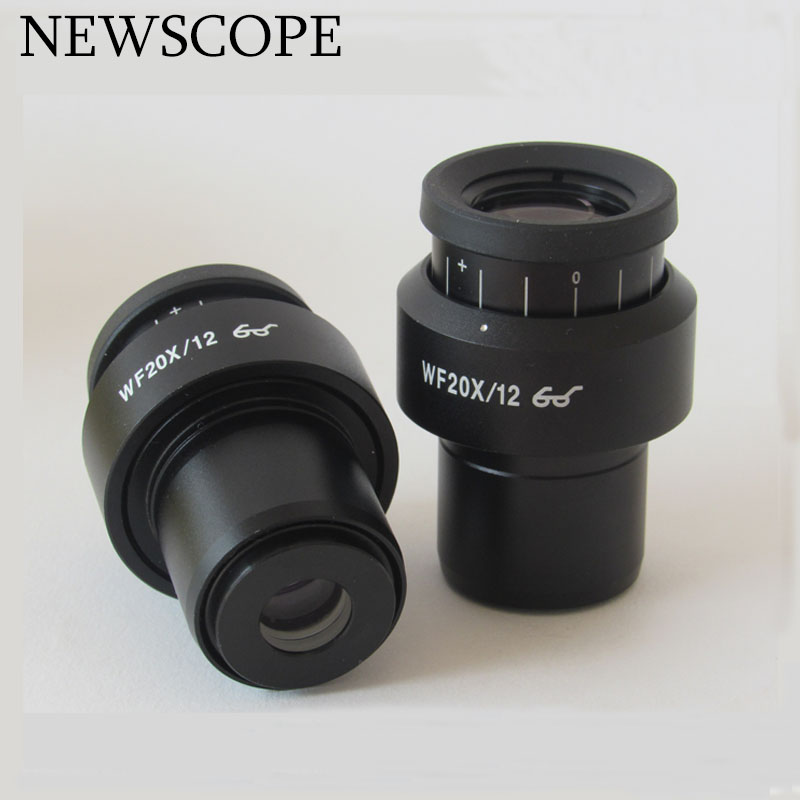 High Quality Diopter Adjustable WF20X/12mm Stereo Microscope Eyepiece High eyepoint Eyepiece Wide Angle Lens Mounting size 30mm professional student biological microscope up and down leds microscope metal structure optical glass lenses wide angle eyepiece