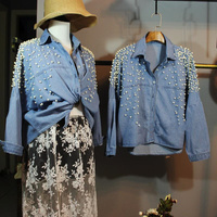 Woman Denim Shirt Collar Loose And Long Sleeved Square 3D Decorative Pearls Beaded Short High Waist