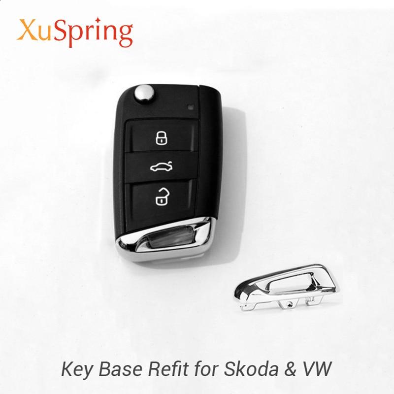 Autocollant de garniture de couvercle de Base de clé de voiture pour Skoda Kodiaq Karoq superbe accessoires de style de voiture rapide pour Skoda Octavia A7 A5