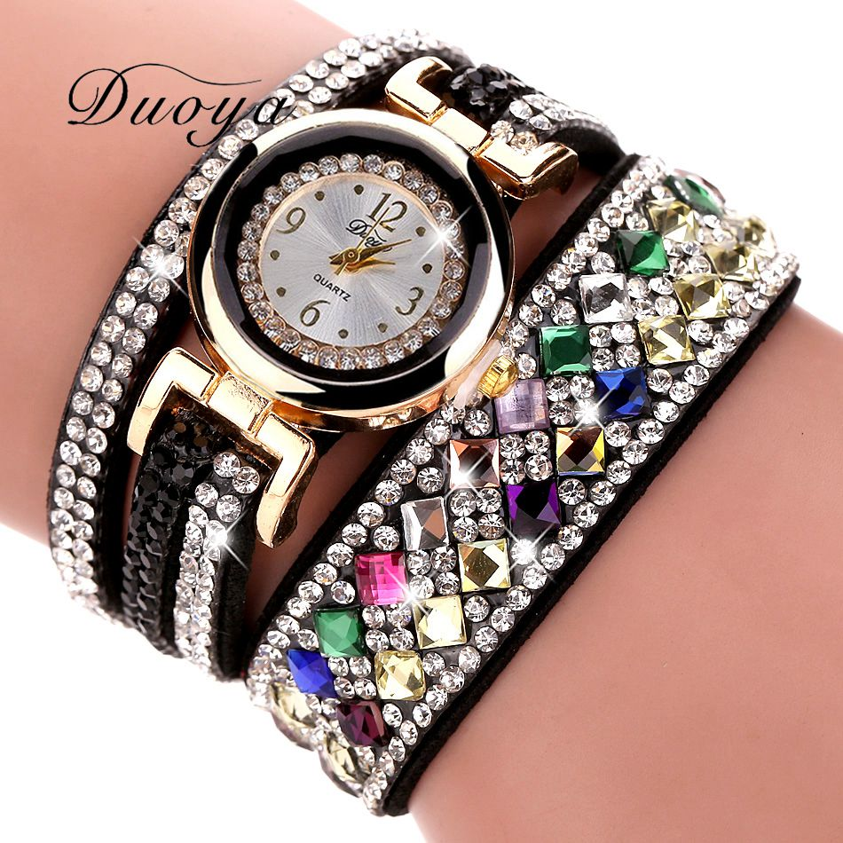 где купить Duoya 2017 New Brand Women Luxury Bracelet Watch Women Fashion Crystal Dress Wrist Watches Casual Vintage Gift Quartz Watch по лучшей цене