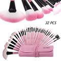 Profesional Escovas de Cosméticos 32 pcs Maquiagem Creme Em Pó Set Pouch Case Bag Kit Pincel de Maquiagem Maleta De Maquiagem Sombras rosa