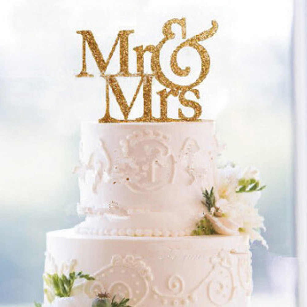 New Mr Mrs Wedding Decoration Cake Topper Acrylic Romantic Bride Groom Cake Accessories For Wedding Party Favors 2019