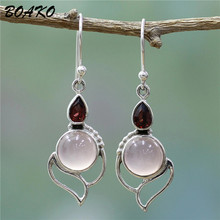 BOAKO Natural Stone Earring Geometric Drop Earrings Vintage Pink Red Crystal Silver Hollow Out Dangle Earring For Women Jewelry все цены