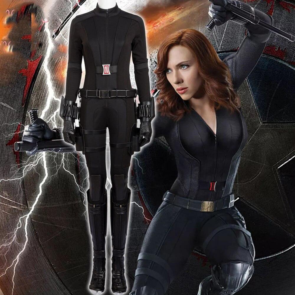 Captain America 3 Black Widow Costume Natasha Romanoff Cosplay Costume Halloween Costumes for Women Full Set Custom Made