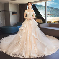Fantasy Luxury Vintage Wedding Dresses Champagne Bride Dress A Line Princess Wedding Gowns Vestidos De Casamento In Stock