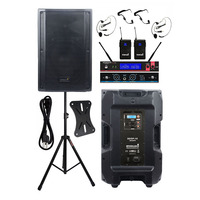 STARAUDIO 4500W 15 4 Ohm Powered Active Stage PA Disco Stage DSP Speaker DJ Speaker Stand 2CH UHF Wireless Headset Mic SDSP 15