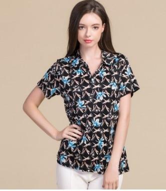 negro Producto Inferior Verano 2018 Manga Mora Punto azul Impresión Nuevo Gran Camiseta Corta Seda Cielo azul Femenina De Código Beige Solapa qE1C1Tfw