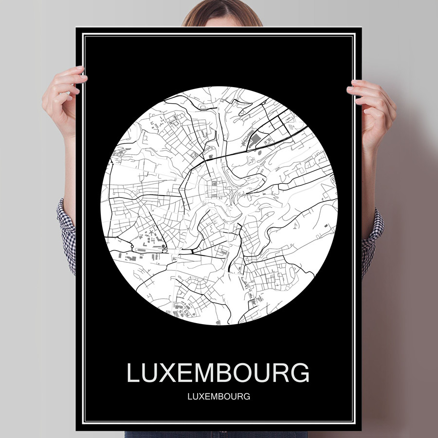 Abstract World City Map LUXEMBOURG Print Poster On Paper Or Canvas Wall Sticker Bar Cafe Living Room Home Decoration