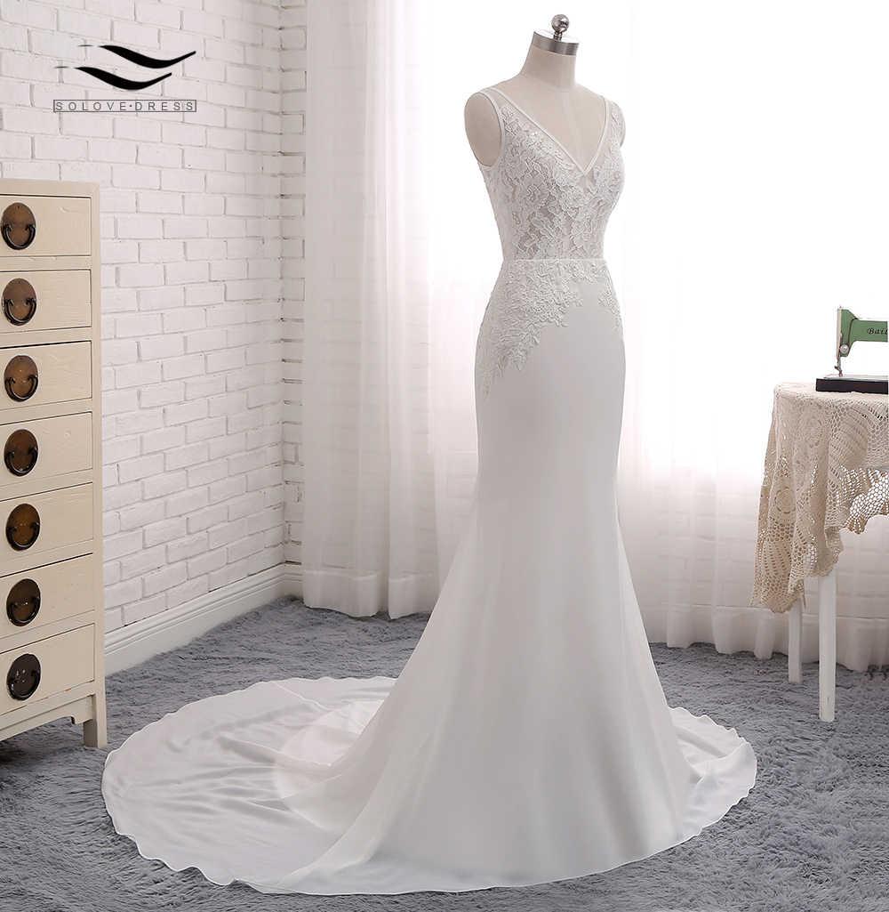 Пляжный стиль, открытая спина, сексуальное шифоновое платье для часовни, шлейф, носик для бутылки, рукава, свадебное платье-русалка, реальные фотографии, свадебное платье 2018 SLD-W593