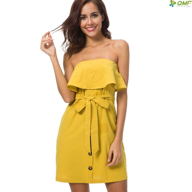7ad5886caded Yellow Off Shoulder Ruffle Dresses 2018 Button Elegant Dress Solid Sweet Bodycon  Dress Plus Size Summer Mini Dress Fashion
